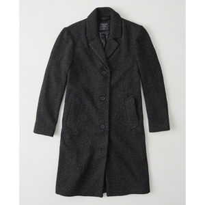 Dark Gray Wool Coat ABERCROMBIE & FITCH